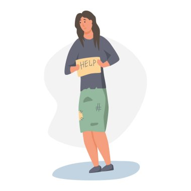 A homeless woman begs on the street. The concept of poverty, misery, unemployment, volunteers. Flat cartoons vector illustration.