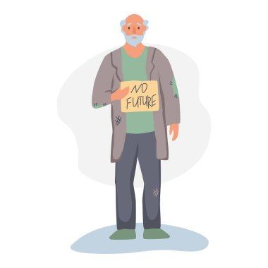 A homeless man begs on the street. The concept of poverty, misery, unemployment, volunteers. Flat cartoons vector illustration.