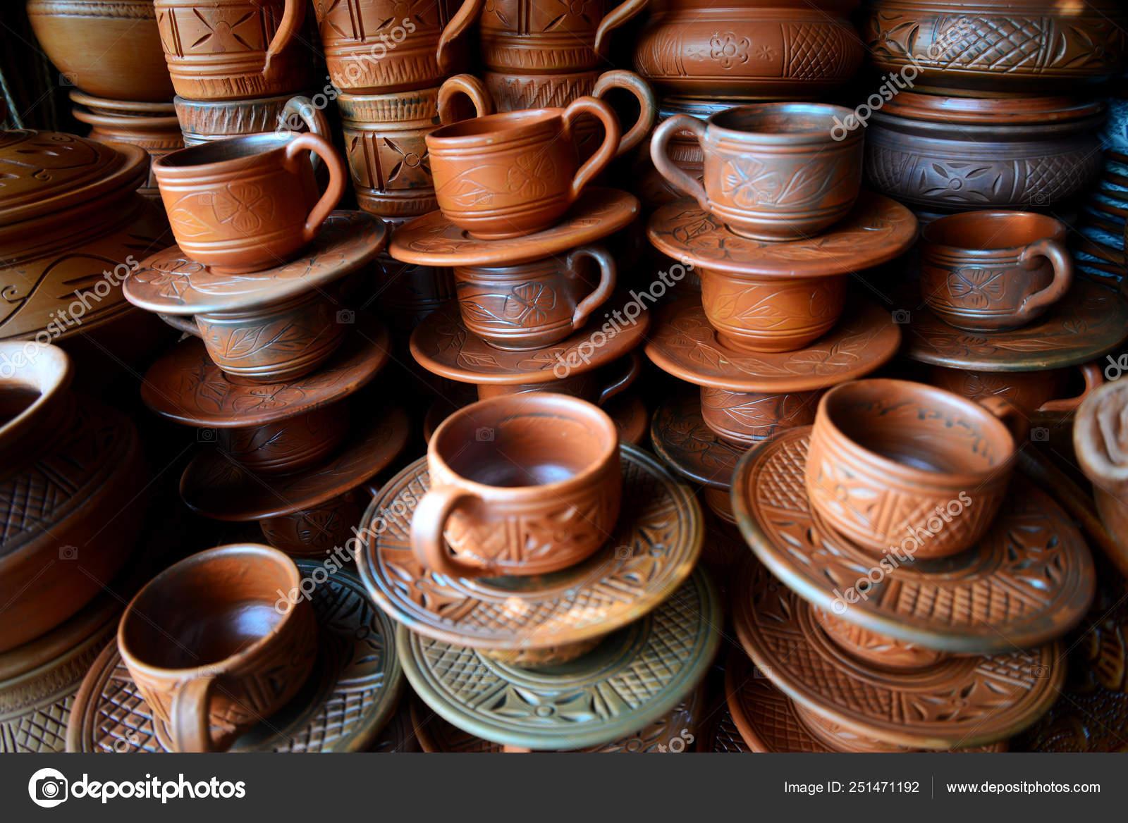 Mercado Productos Barro Artesanía Dhaka Bangladesh Diferente Tipo