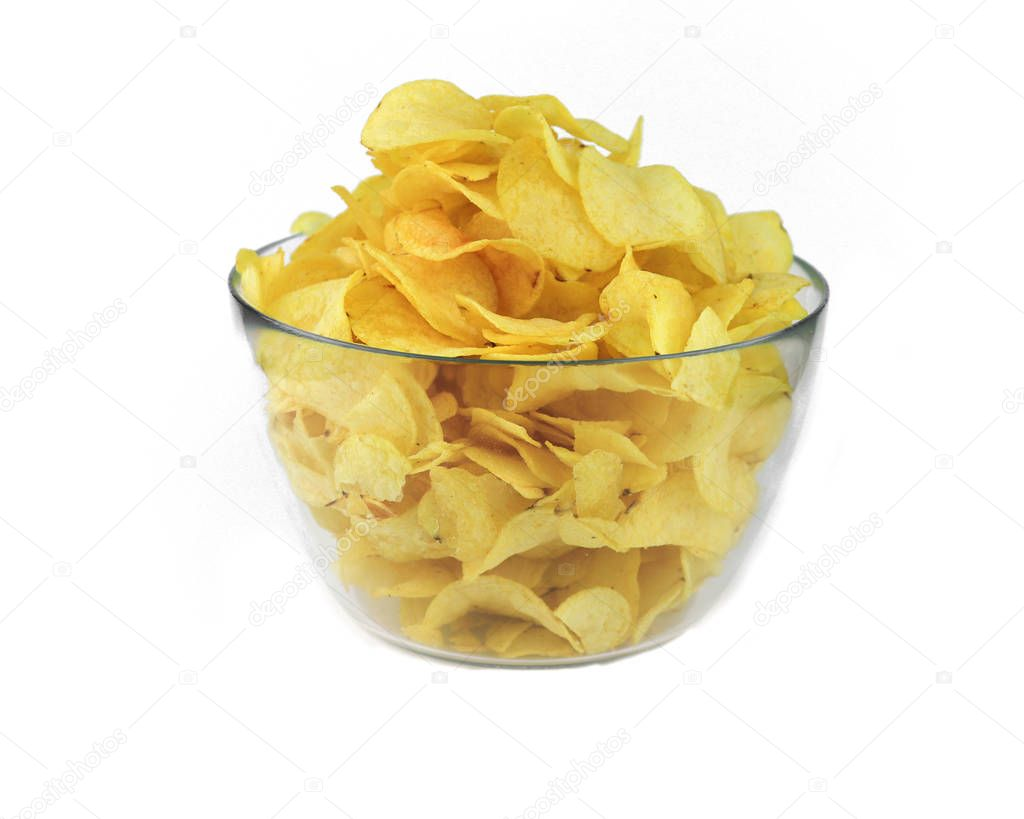 Fried chips in a glass bowl on a white background