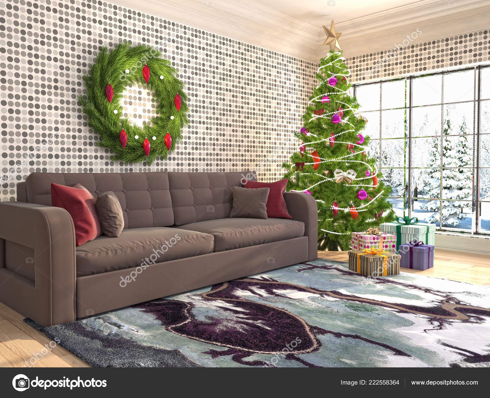 Weihnachtsbaum Mit Dekoration Wohnzimmer Illustration ...