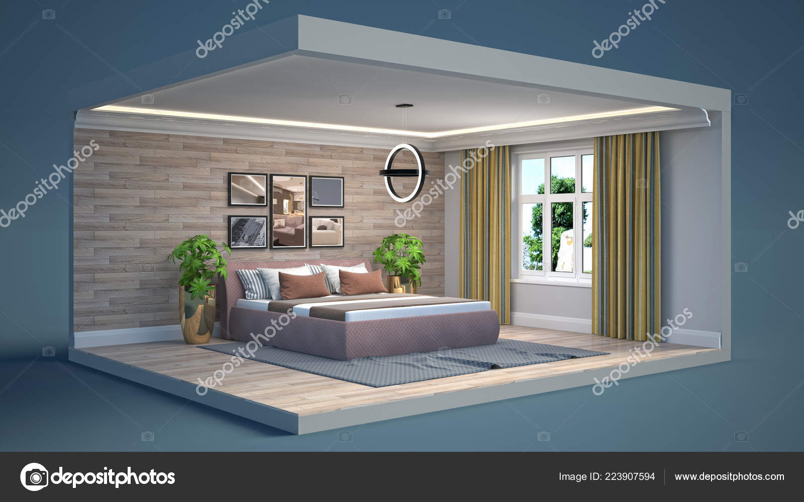 Interior Of The Bedroom In A Box. 3D Illustration U2014 Photo By StockerNumber2