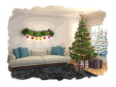 Christmas tree with decorations in the living room. Sketch. 3d