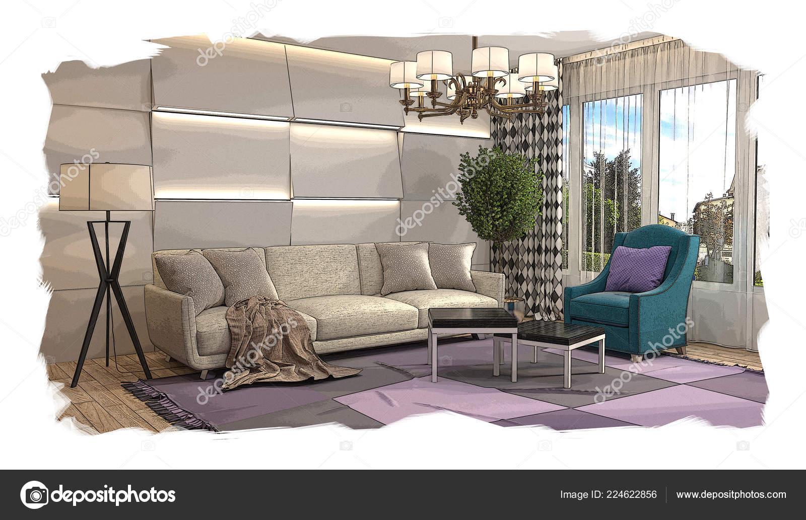 3d Woonkamer Ontwerpen : Interieur schets ontwerp van woonkamer u2014 stockfoto © stockernumber2