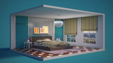 Interior of the bedroom in a box. 3D illustration