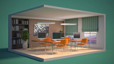 Office interior in a box. 3D illustration