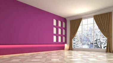 Empty interior with window. 3d illustration