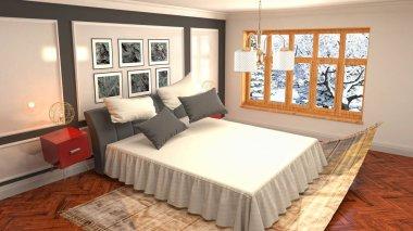 Zero gravity bed hovering in bedroom. 3D Illustration
