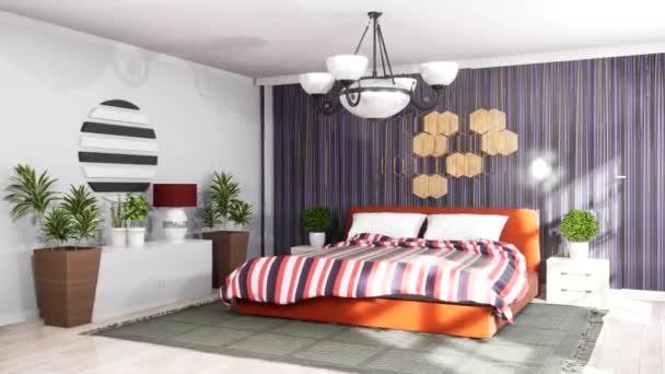 Interiér ložnice. Postel. 3D ilustrace