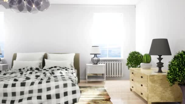 Interiér ložnice. Postel a klid. 3D ilustrace