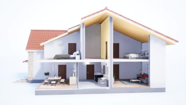 Obytný dům na bílém pozadí. 3D ilustrace