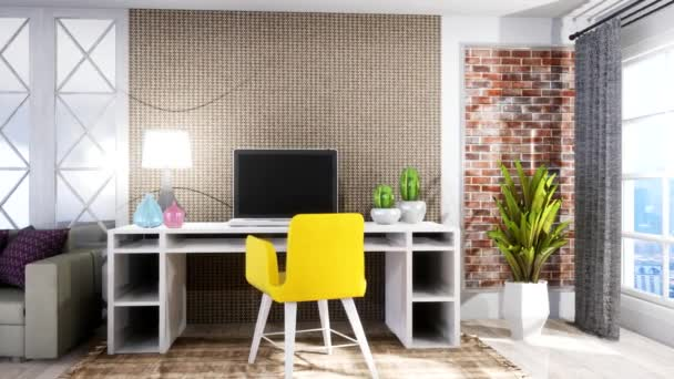 Počítač na stole. 3D ilustrace