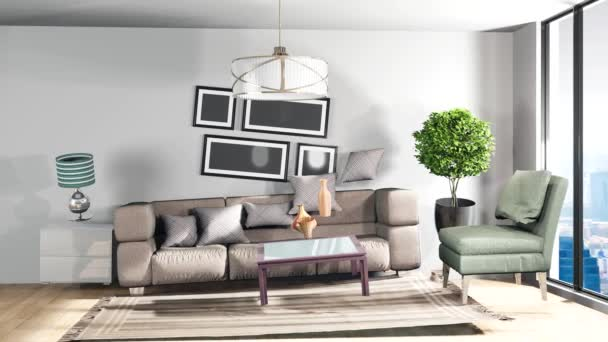 Zero Gravity kanapé nappaliban lebeg. 3D-s illusztráció