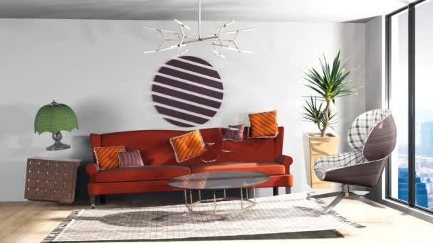 Vznášející se v obývacím pokoji rozkládací nulové gravitace. 3D obrázek