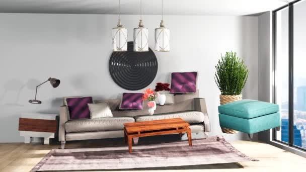 Nulová gravitace se vznáší v obývacím pokoji. 3D ilustrace
