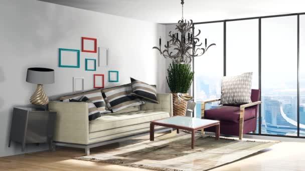 Zéró gravitációs kanapé lebeg a nappaliban. 3D illusztráció
