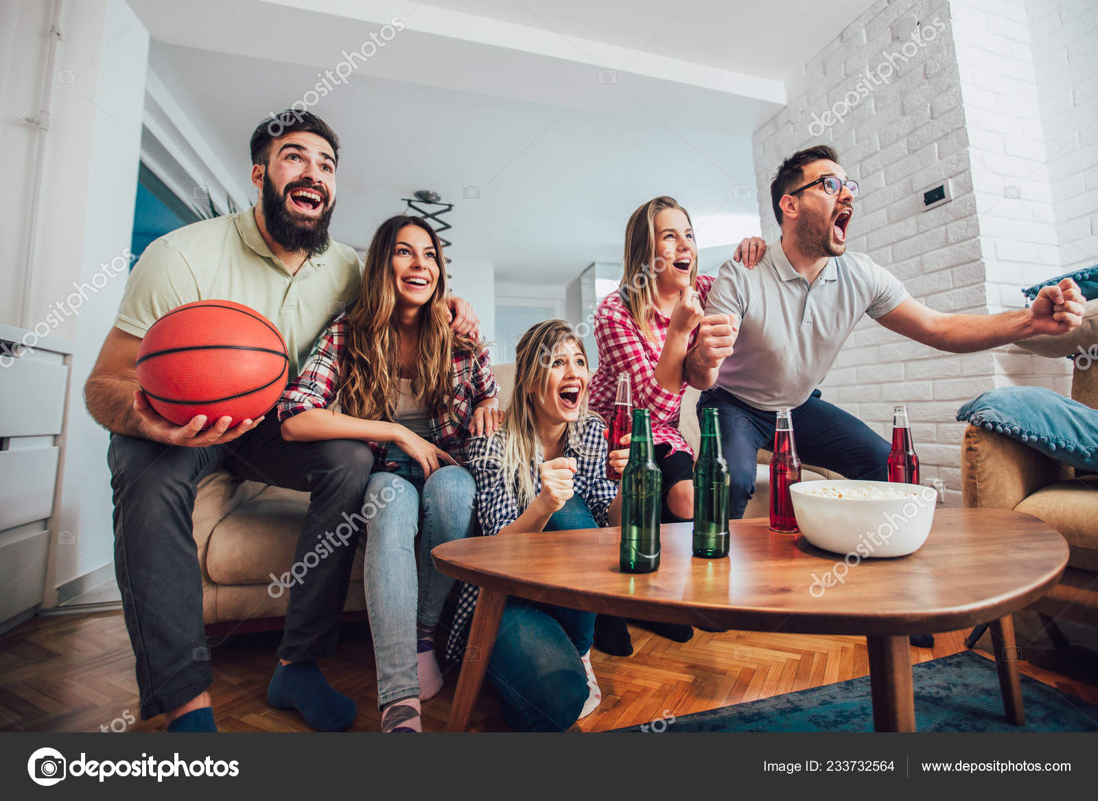 Happy Friends Watching Basketball Game Together Home Stock Photo Image By C Adriaticphoto 233732564