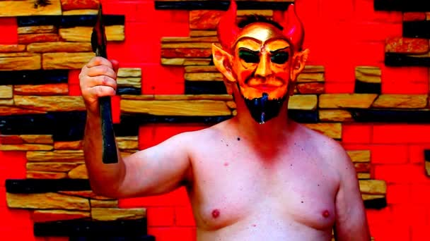 Halloween čert maska záběry