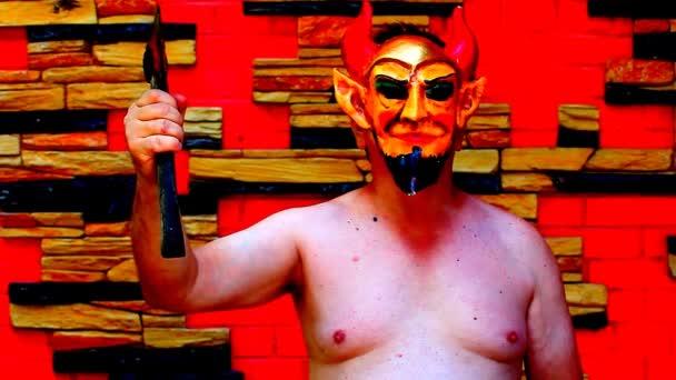 Halloween Devil mask footage