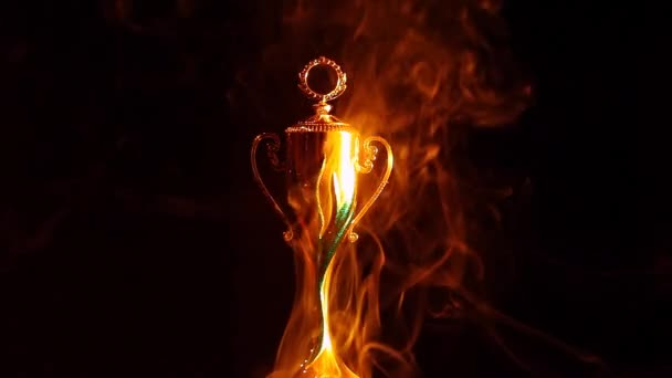 gold cup smoke dark background hd footage