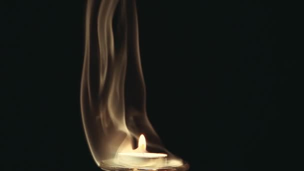 Candle wax fire flame smoke dark background nobody hd footage