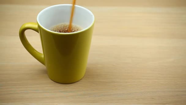 black tea green cup wooden table hd footage