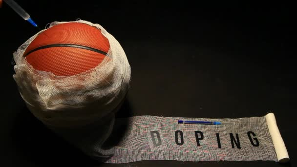 kosárlabda kötést fecskendő dopping szöveg sötét háttér senki HD felvételeket