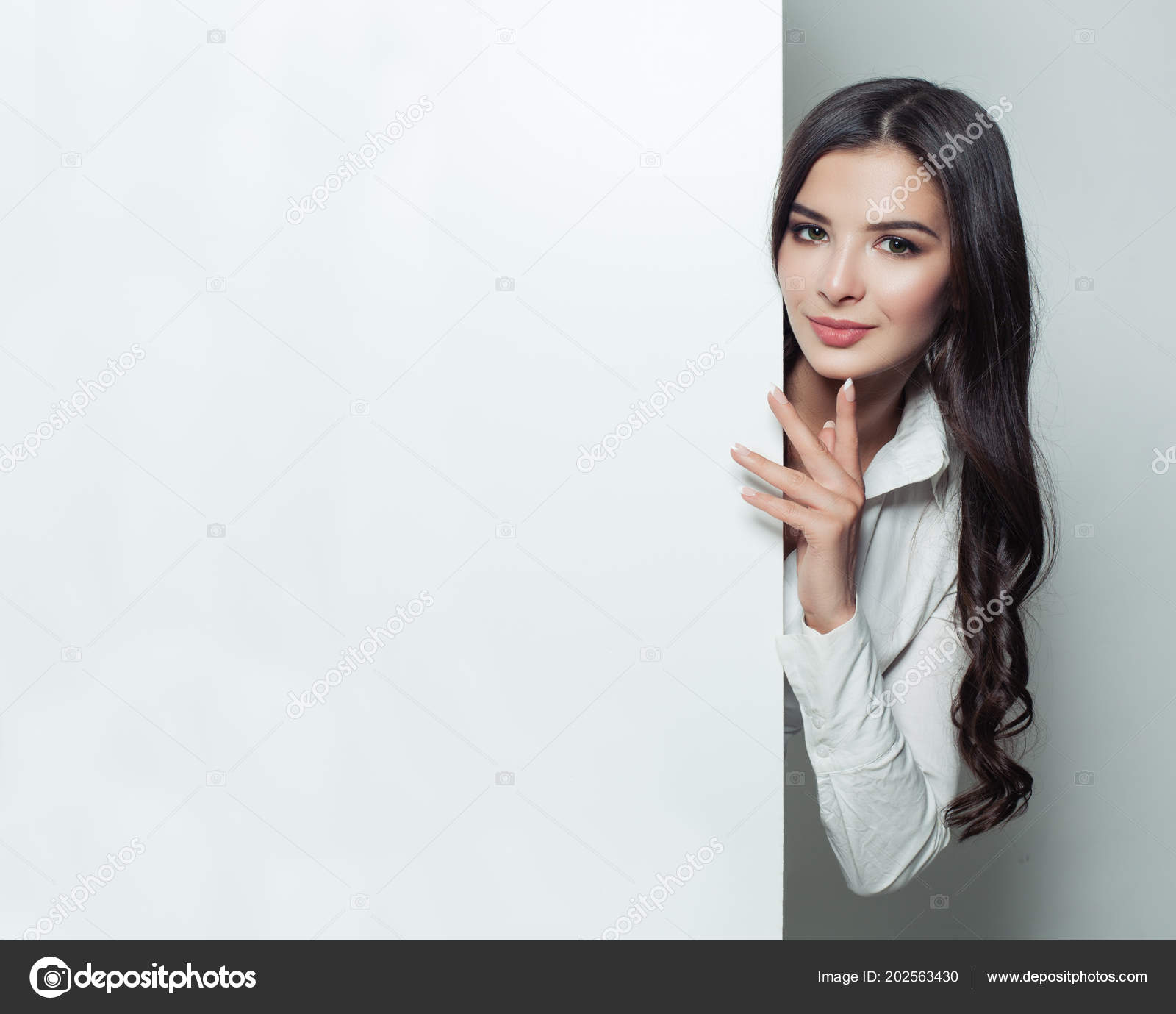 Student Woman Showing White Blank Paper Banner Background Copy Space Stock Photo C Millafedotova 202563430
