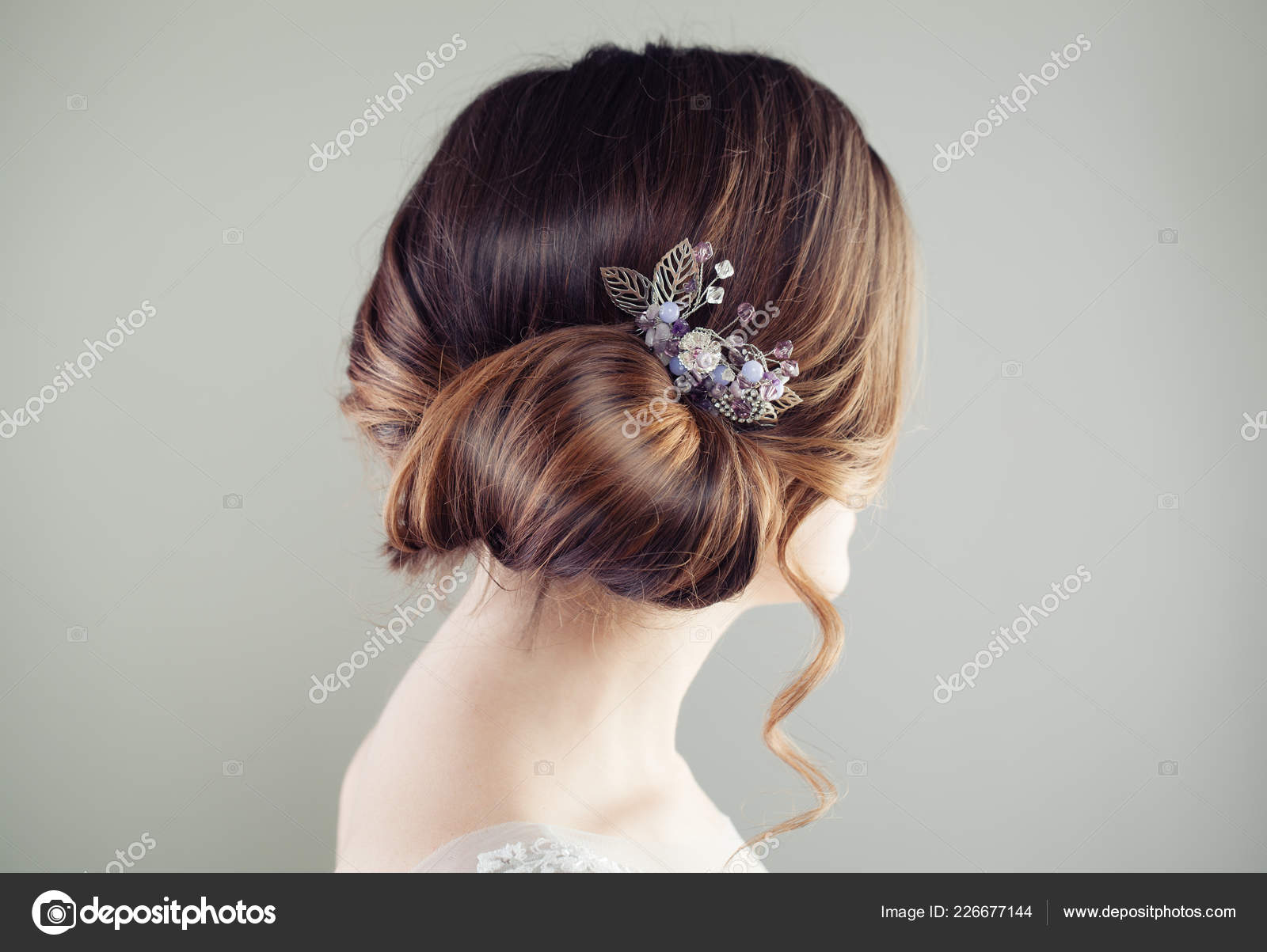 Beautiful Bridal Hairstyle Updo Hair Hairdeco Stockfoto