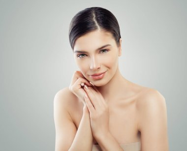 Spa beauty portrait of young happy woman. Spa, cosmetology, facelift and skincare concept