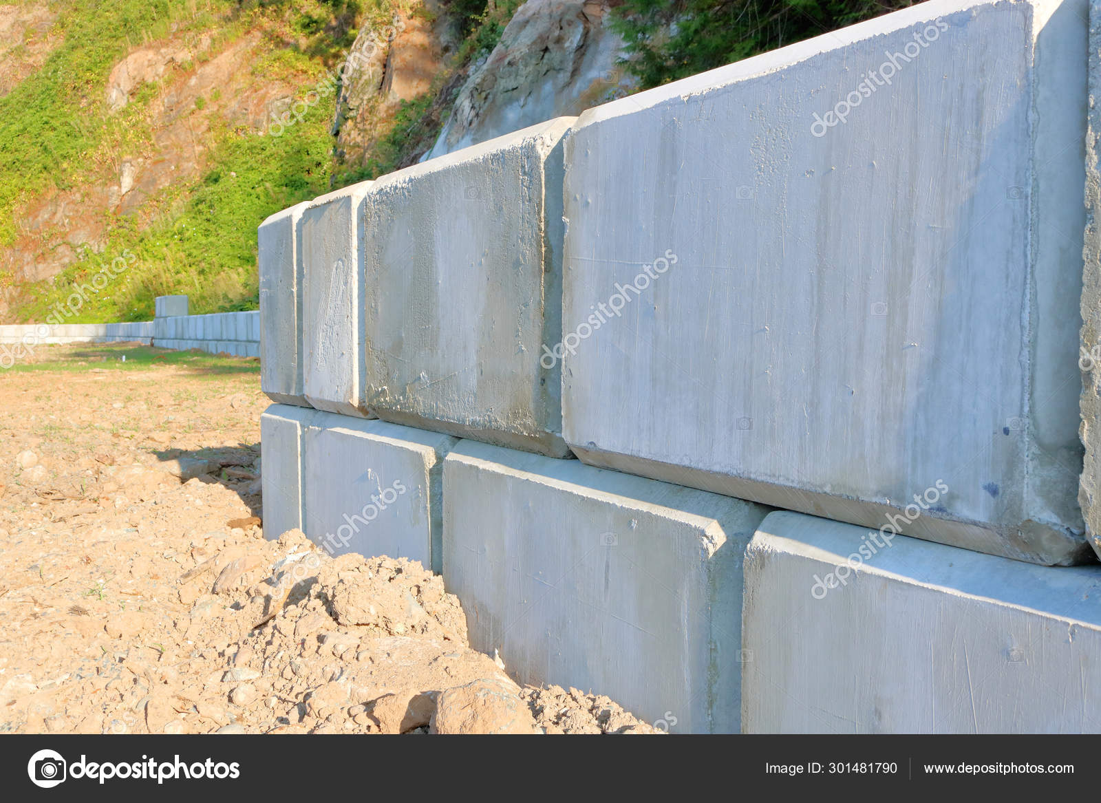 Close Detailed View Retaining Wall Comprised Large Heavy Cement