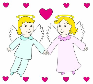 Lovely angels boy and girl fly in the hearts