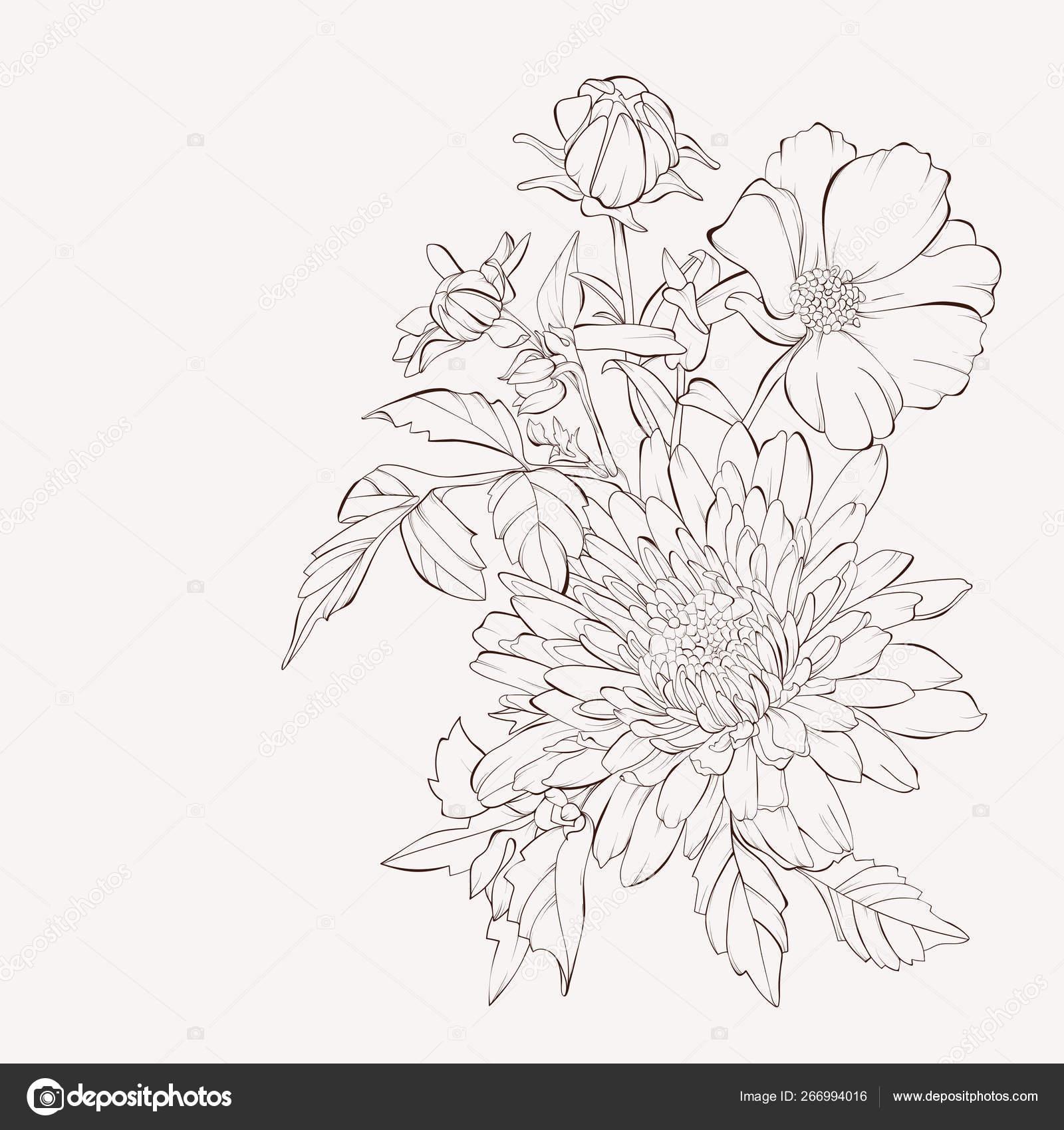 Vector Dahlia Flower Autumn Flowers Bouquet Element For Desig Stock Vector C Jbunina 266994016