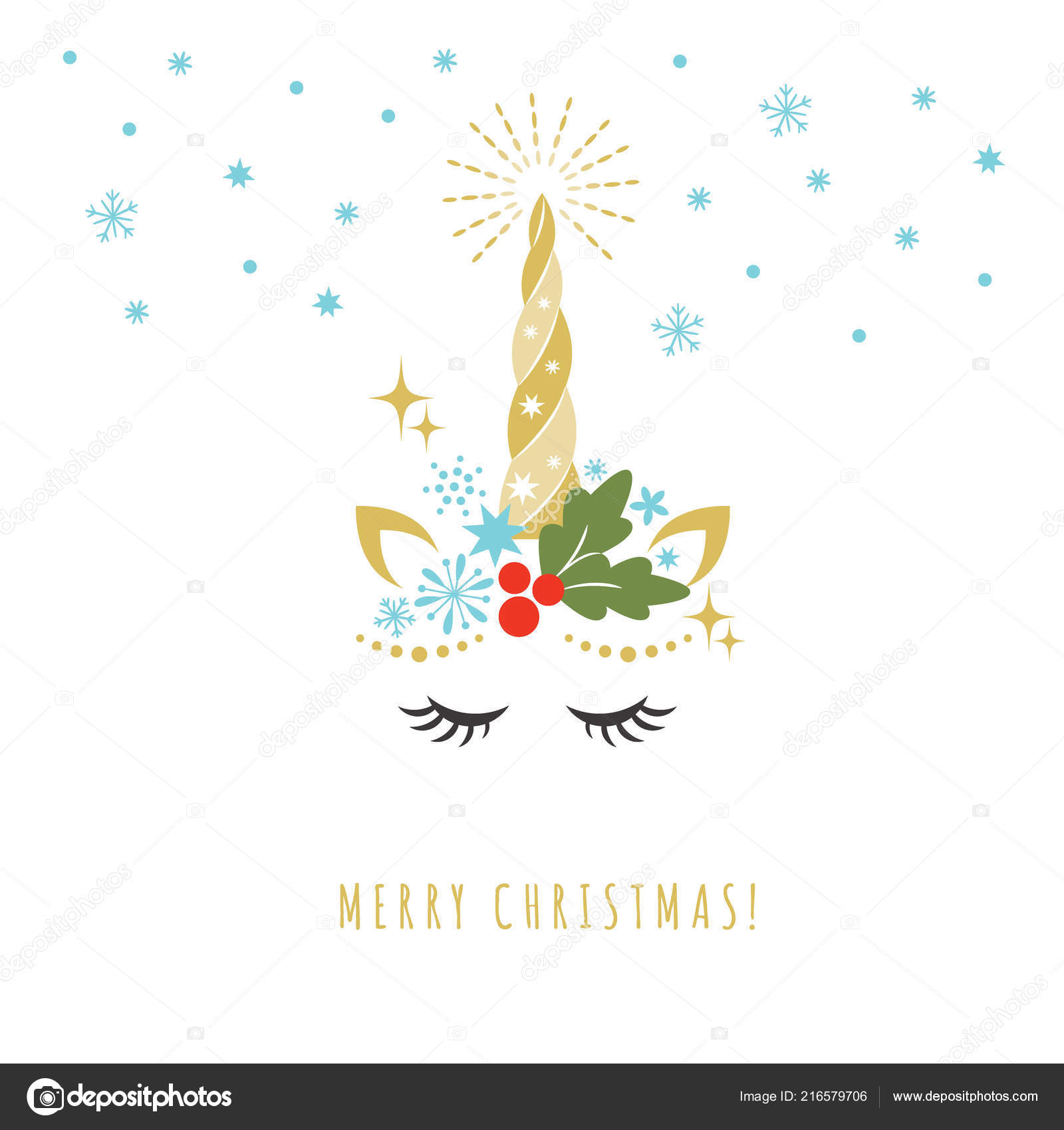 Merry Christmas Greeting Card Unicorn Vector Illustration — Archivo ...