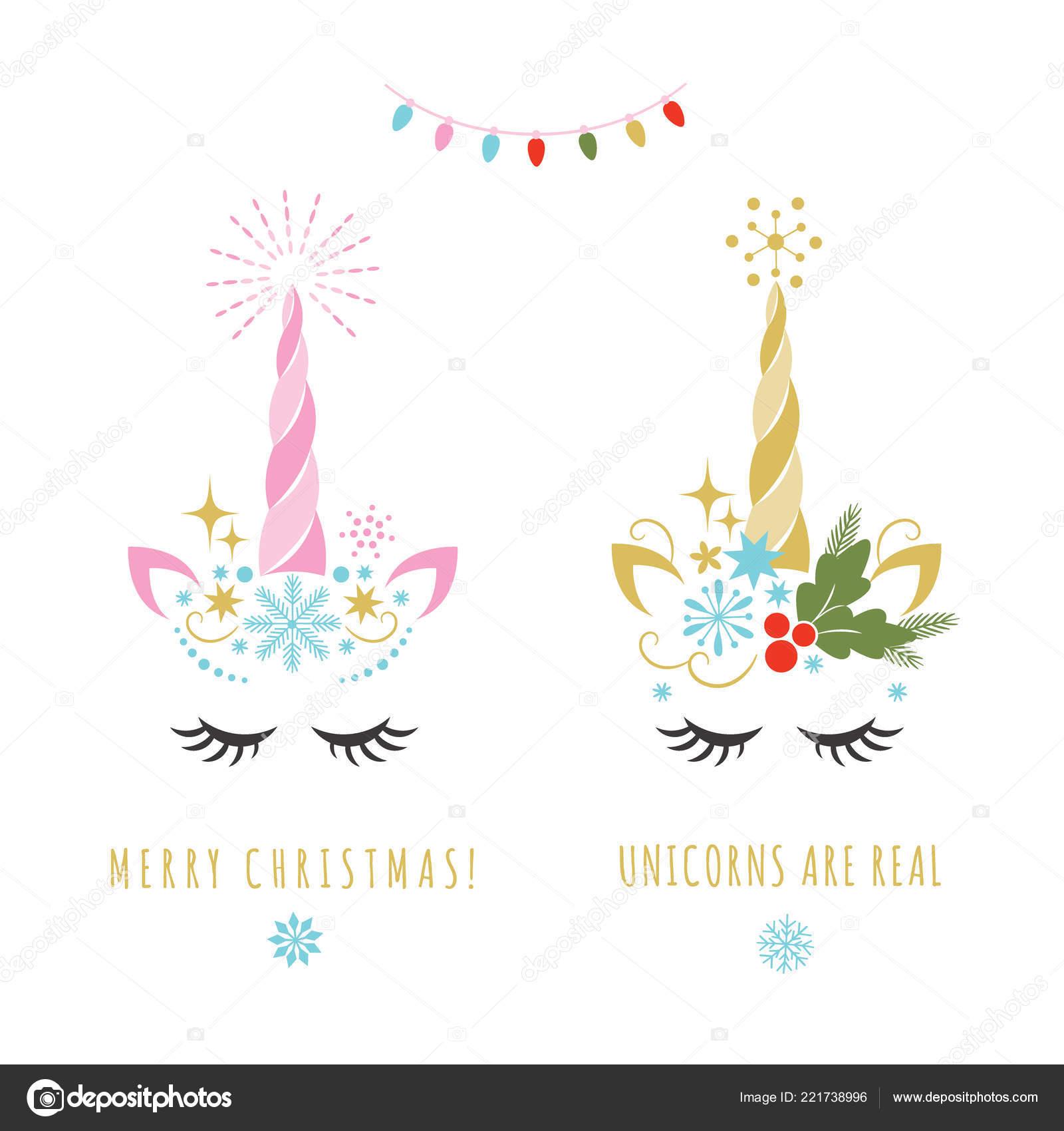 Merry Christmas Greeting Card Unicorn Vector Illustration Card Shirt