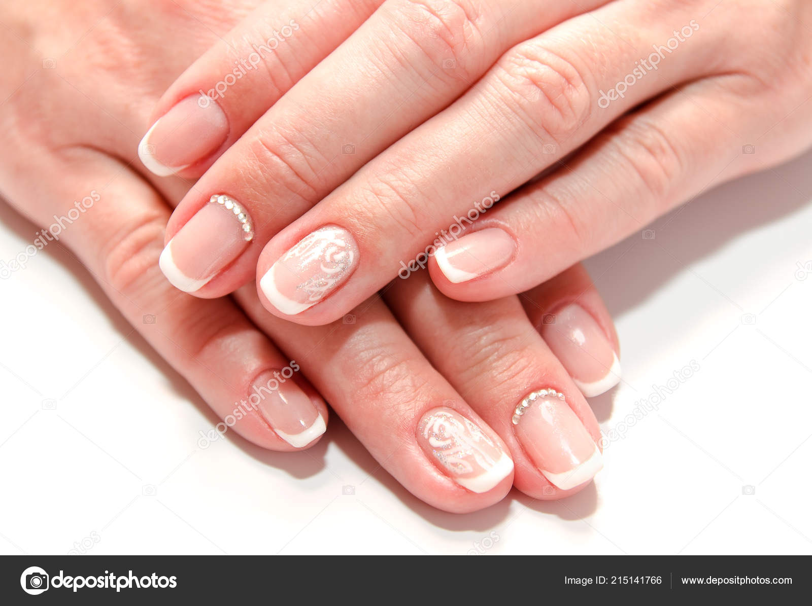 Pictures French Nails Woman Nails Beautiful French Manicure Fashion Design Gems Isolated White Stock Photo C Svetamart 215141766