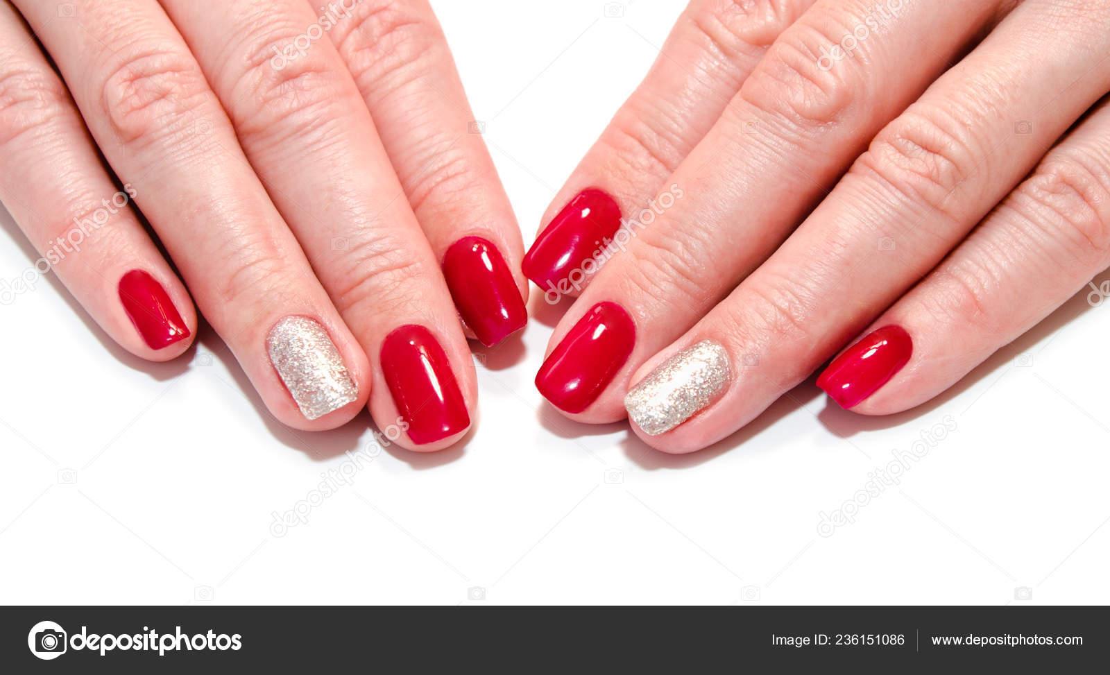 Woman Nails Beautiful Red Manicure Fashion Design Gems Isolated White Stock Photo C Svetamart 236151086