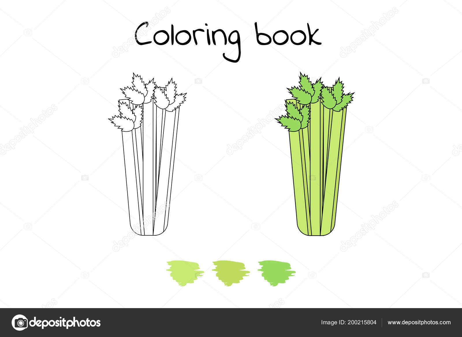 Resimde çocuklar Için Oyun Sebze Boyama Sayfası Kereviz Stok