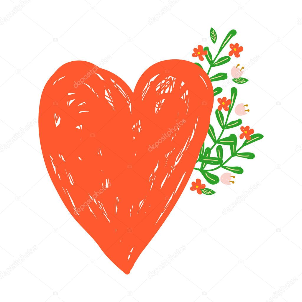 vector sticker. red heart and flowers in hand drawn style. badge for social networks. love. Valentines day.