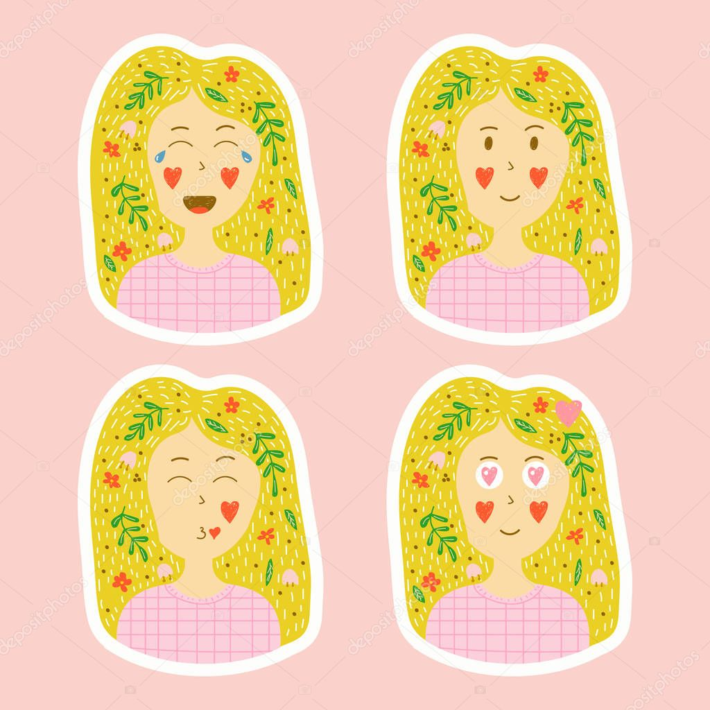 vector collection of stickers in hand drawn style. set of emotio