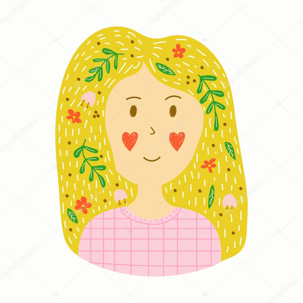 vector sticker in hand drawn style. young blonde girl with flowe