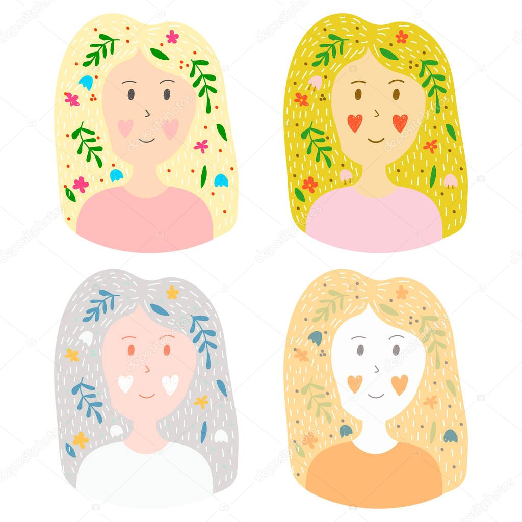 vector collection of stickers in hand drawn style. set of a youn