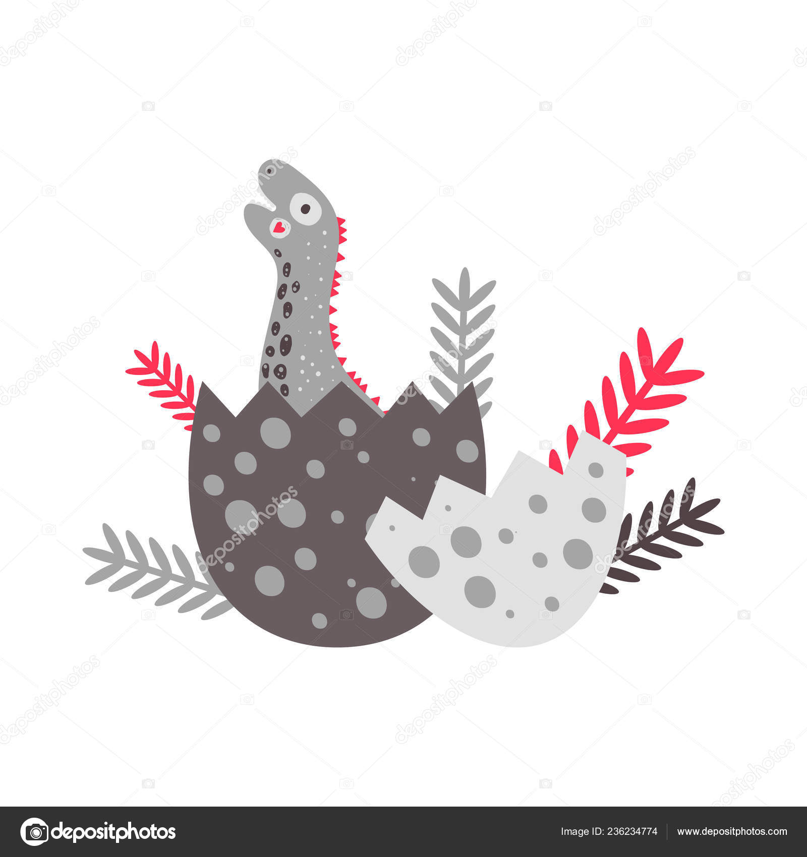 Nursery Cute Print With Dinosaur Diplodocus Happy Birthday Hatching An Egg For Childrens T Shirts Posters Banners Greeting Cards