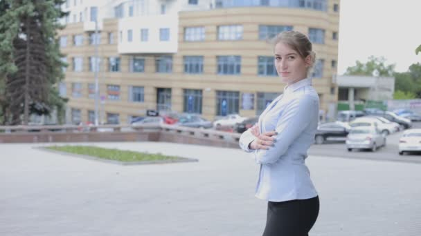 Woman in blouse standing on the area looking at camera. The girl looks like manager or secretary.