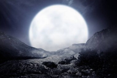 Foggy rocky mountain with moonlight background