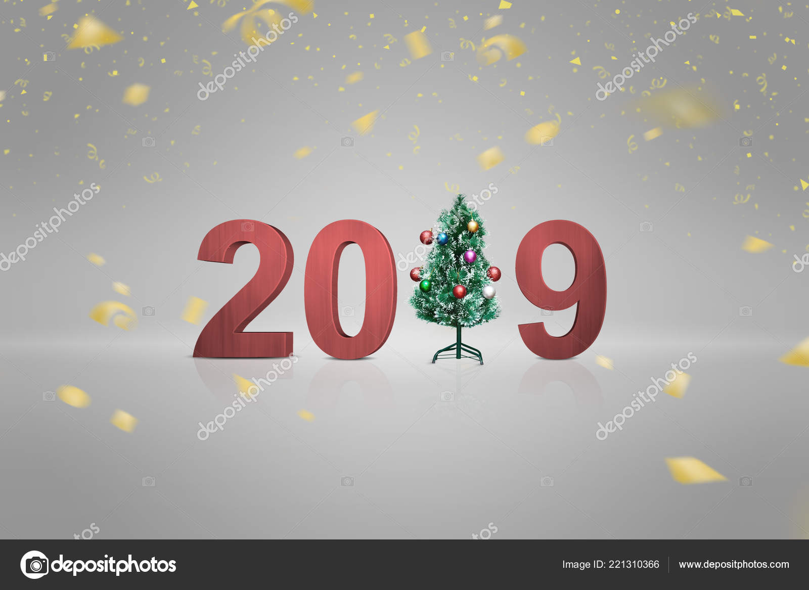 2019 number christmas tree gray background happy new year 2019 stock photo
