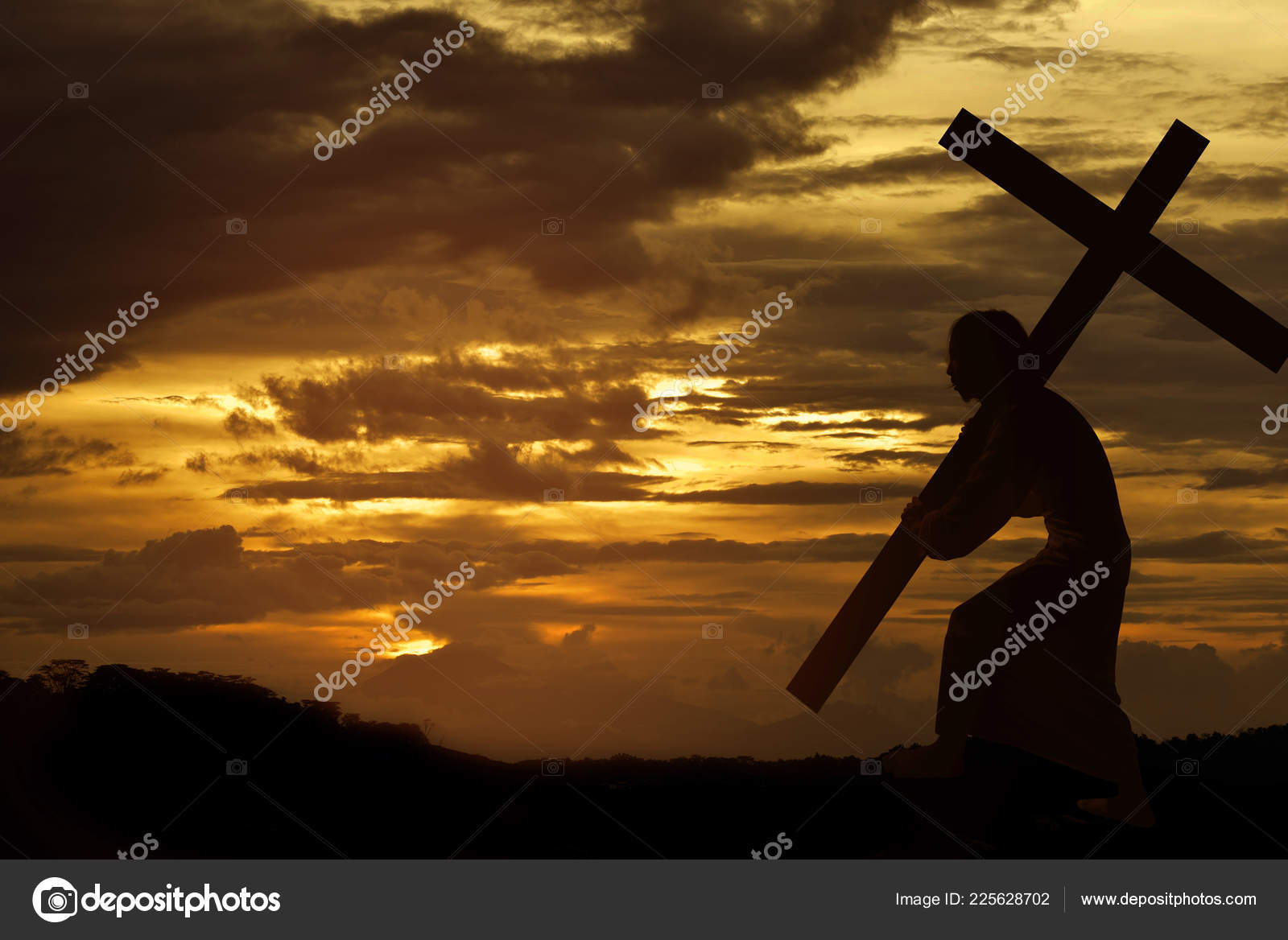 Silhouette Jesus Christ Carrying Cross Sunset Background Stock