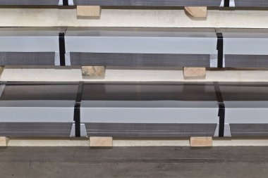 Galvanized sheet in packs in metal products warehouse