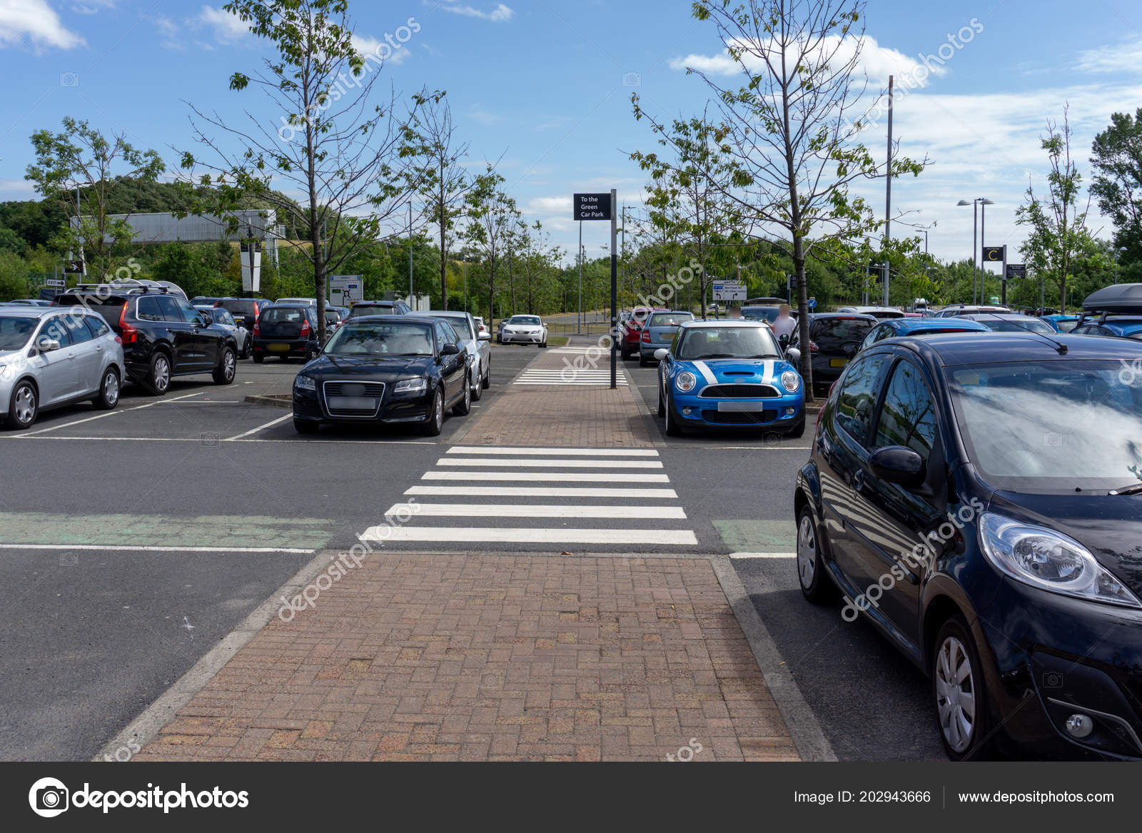 Straight Pedestrian Walkway Carpark Cars Parked Both Sides Stock Editorial Photo C Mcdowalljh 202943666