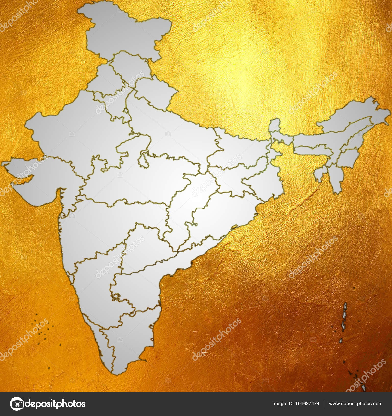 India In Asia Map.Map Of India Asia With All States And Country Boundary In Creative